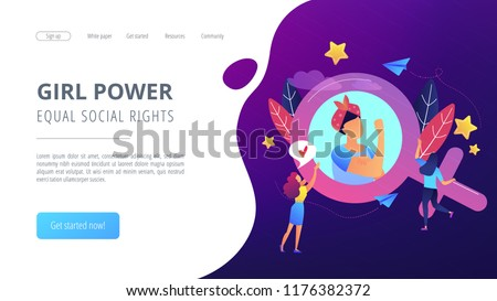 A woman image in female gender sign showing biceps as a concept of feminism, girl power, movement, female equality, equal social and civil rights. Violet palette. Website landing web page template.