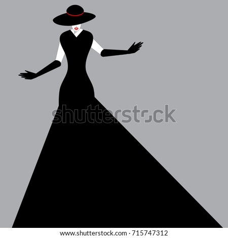 a woman in a black gown  hat