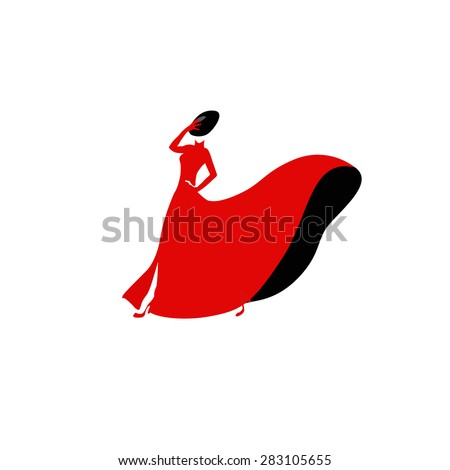 a woman in a red dress  logo