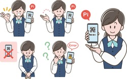 A woman in a uniform  who guides QR code payment. (Vector illustration set)