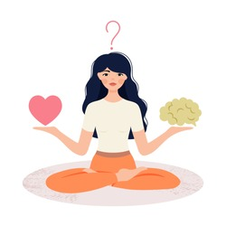 A woman in the Lotus position holds a heart and a brain in her hands. The concept of combining and balancing love and reason. The girl makes a choice of shower or brain.
