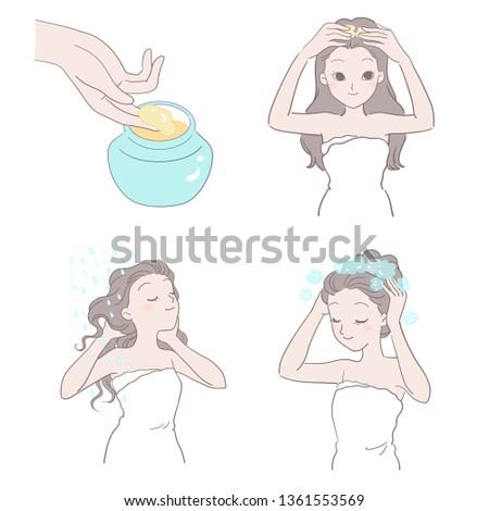 A woman is doing massage scalp and washing steps. Take the shampoo, massage, wash your hair until there are bubbles, rinse your hair