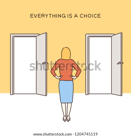 A woman is having a choice in front of two doors. hand drawn style vector design illustrations.