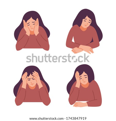 A woman is having a headache. Girl feels anxiety and depression. Psychological health concept. Nervous, apathy, sadness, sorrow, unhappy, desperate, migraine. Flat vector illustration. Foto stock ©