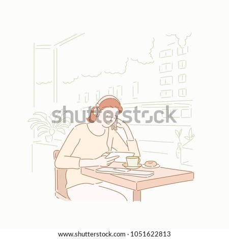 A woman is listening to music while drinking coffee at a cafe. hand drawn style vector doodle design illustrations.