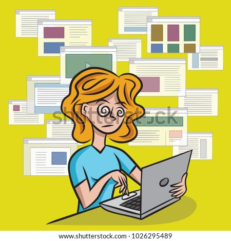 A woman is overwhelmed by the amount of information available from online media outlets.