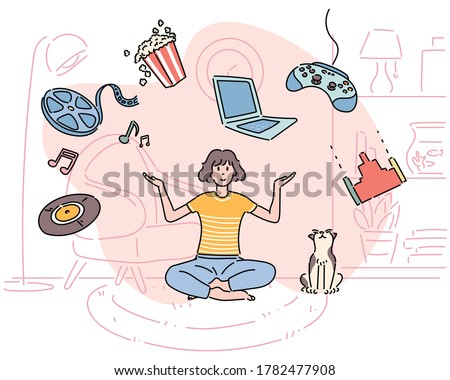 A woman is sitting in a room with a cat. Movie, game and music objects are floating around her. hand drawn style vector design illustrations.