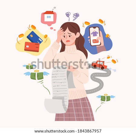 A woman is struggling with credit card debt and expenses. Concept illustration about installment debt. Photo stock ©