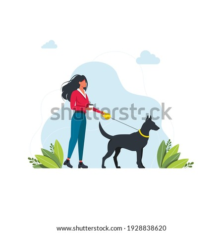 A woman is walking with a dog. Isolated on white background. A young girl is walking with a big dog on a leash. Cute girl character walking with a dog on leash outdoor. Vector illustration Foto stock ©