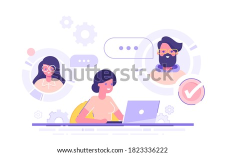 A woman is working from home and meeting up with her team, colleagues or friends online via conference video call. Working from home, remote project management, quarantine. Vector illustration.