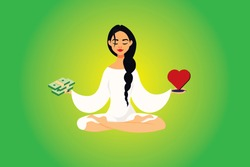 A woman makes a choice. Love or money reason. Heart and money on the scales. The concept of love or wealth