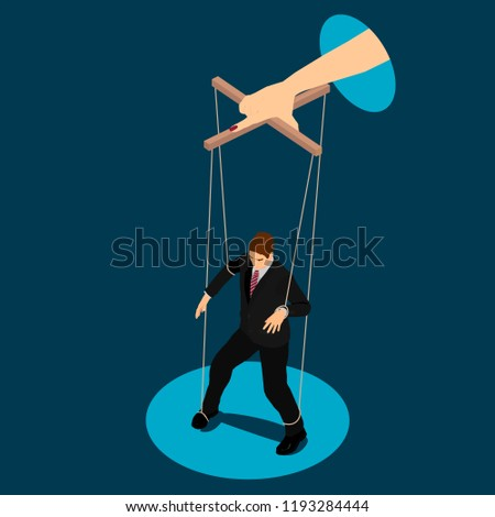 A woman manipulates a man like a puppet. The man is a toy in the hands of the woman. Stockfoto ©