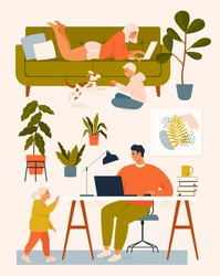 A woman on the couch, a man at the desk working at home at the computer, children play with the dog. Vector illustration. Stay at home.