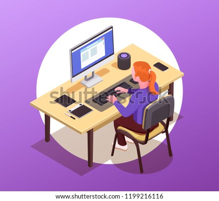 A woman online working on the computer. Workspace concept with devices. Flat isometric smartphone, tablet, desktop, wireless speaker concept.