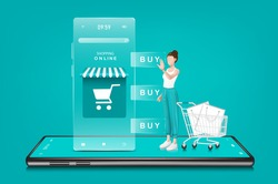A woman orders products online through a smartphone application. With a smartphone and a shopping cart as visual elements,shopping online concept design