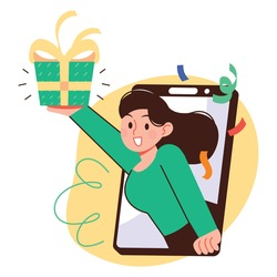 A woman pops out of the screen of a smartphone and hands a gift. Smartphone application event gift concept vector illustration.
