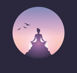 A woman practices meditation on the top of mountain in the morning. Meditation theme with silhouette woman training yoga and meditates during sunrise. Vector illustration.