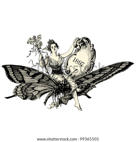 "A woman sitting on a butterfly - Vintage engraved illustration - ""La mode illustree"" by Firmin-Didot et Cie in 1897 France"