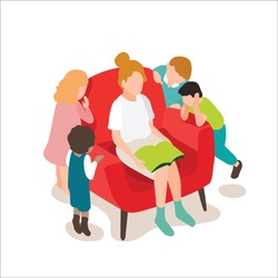 A woman sitting on sofa reading book for childrens