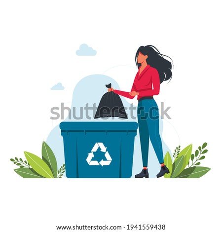 a woman throws a garbage bag into a trash can, garbage recycling sign Volunteering people, ecology, environment concept. Girl throws rubbish in garbage bin.vector illustration. clean planet concept Stock photo ©