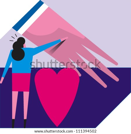 A woman touches a large hand with heart in the foreground - stock vector