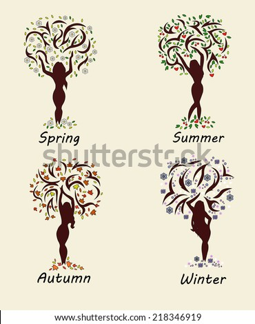 a woman tree in four seasons