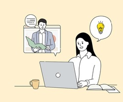 a woman who gains knowledge through video conferencing illustration set. online, idea, computer, meeting. Vector drawing. Hand drawn style.