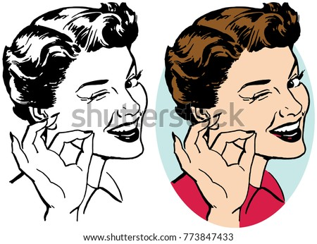 a woman winking and making an...