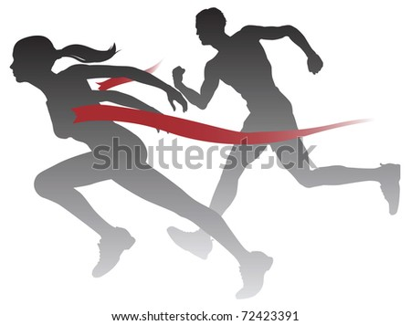 A woman winning a race breaking through the finish line.