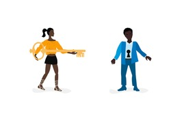 A woman with a key tries to open a man with a keyhole. A psychologist or psychotherapist is looking for an approach to the patient, the concept of mutual understanding