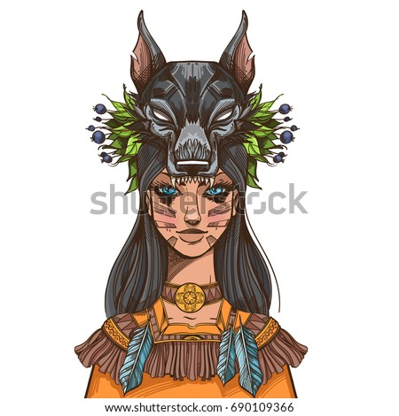 a woman with a mask of a wolf