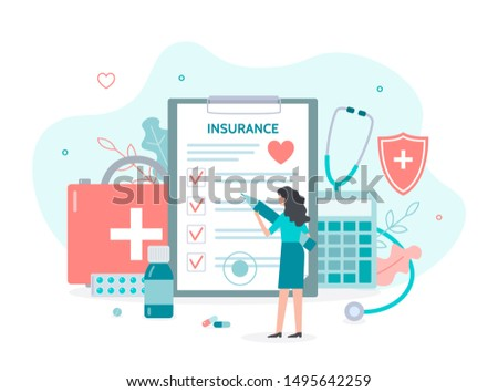 A woman with a pen in her hands fills out the document. Health insurance concept. Flat vector illustration.