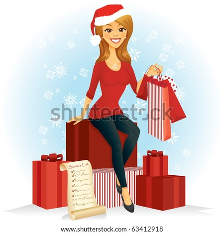 A woman with shopping bags sits on a pile of Christmas gifts wearing a Santa hat.