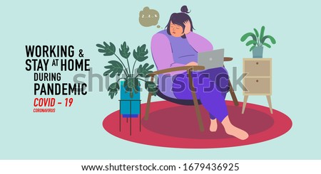a woman working at home preventing from corona virus, covid-19 pandemic