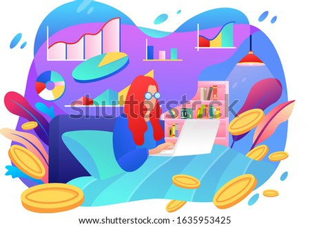 a woman working on a laptop on a desk. Work from home. work together to build a business.  flat illustration design