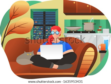 a woman working with a laptop on a sofa. Work from home. work together to build a business. flat illustration design