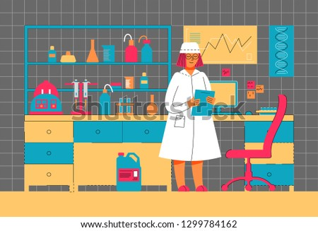A woman works in a laboratory. Scientific experiment. Scientific work. Illustration in modern flat linear style.
