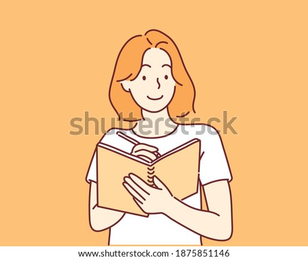 A woman writes a list of goals for 2021 in a white notebook. Hand drawn style vector design illustrations.