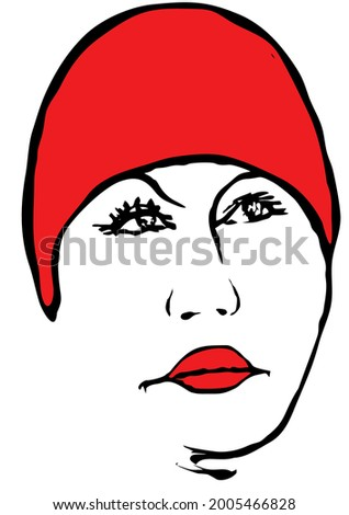 a women face adult red riding
