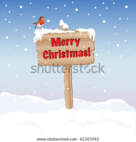 A wooden sign wishing Merry Christmas. EPS10 vector format. Fully editable for insertion of your own text.