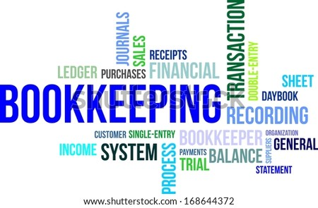 A word cloud of bookkeeping related items - stock vector