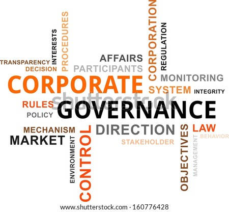 Word cloud of corporate governance related items stock vector