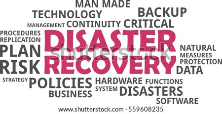 A word cloud of disaster recovery related items
