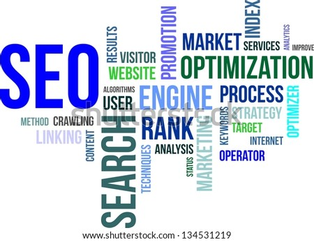 A word cloud of search engine optimization related items