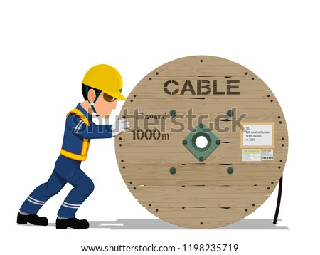 A worker is moving the cable drum on transparent background