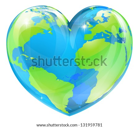 A World Globe In The Shape Of Heart Symbol Concept For Loving Travel