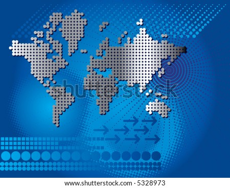A world map with an abstract background in blue