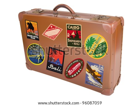 A world traveler suitcase isolated over a white background