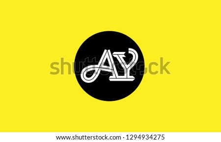 A, Y, A Y, a y letter Creative Minimal Abstract Unique Luxury Style Premium Vector Logo Design Template Element in white color connected with black circle with yellow background.