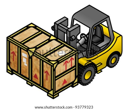 A yellow forklift truck with a large wooden crate.